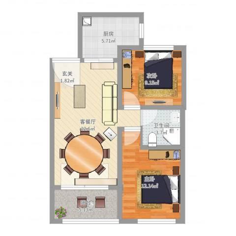 秀兰森活里2室2厅1卫1厨73.00㎡户型图