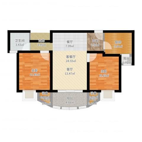 美堤雅城(二期)2室2厅1卫1厨78.00㎡户型图