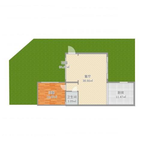 中航城墅1室1厅1卫1厨82.00㎡户型图