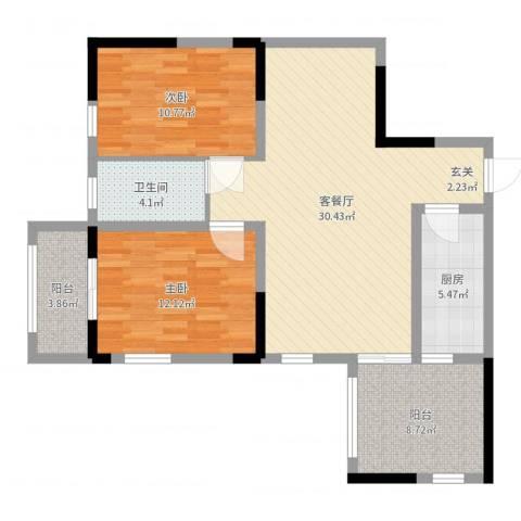 金麓西岸和苑2室2厅1卫1厨94.00㎡户型图