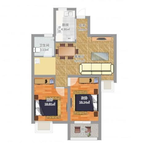 天瑞名城2室2厅1卫1厨70.00㎡户型图
