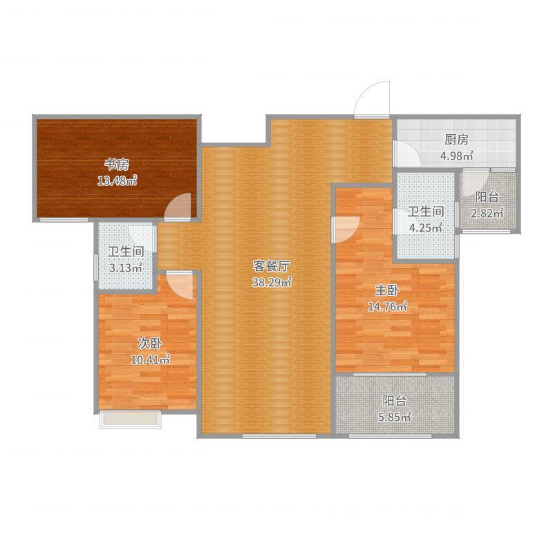 阳光城12#P3G2户型-现代风格-出租房户型图