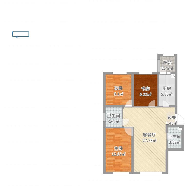龙跃・金水湾110.89㎡13#A2户型3室3厅2卫1厨户型图