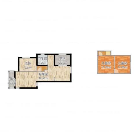 印象欧洲3室0厅1卫1厨110.00㎡户型图