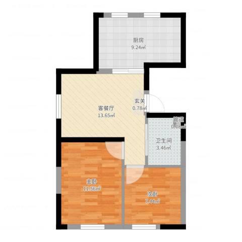 锦城邻里2室2厅1卫1厨57.00㎡户型图