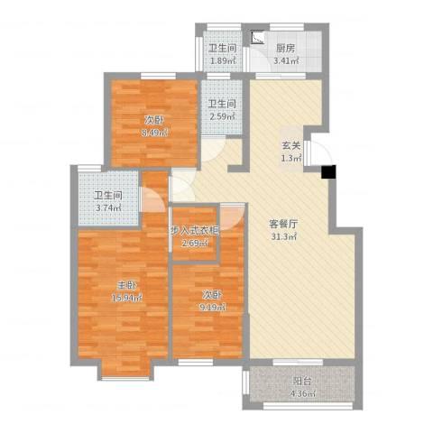 嘉和城3室2厅3卫1厨105.00㎡户型图