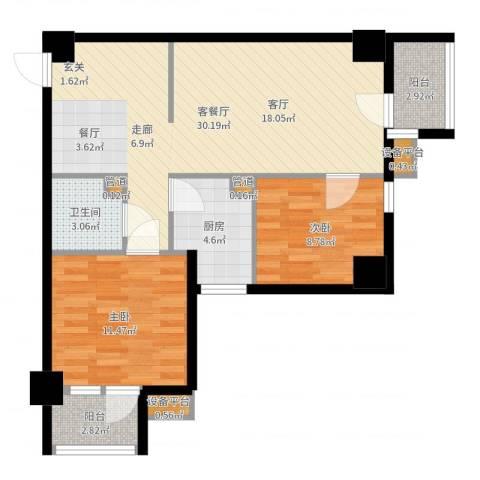 天骄花园2室2厅1卫1厨81.00㎡户型图