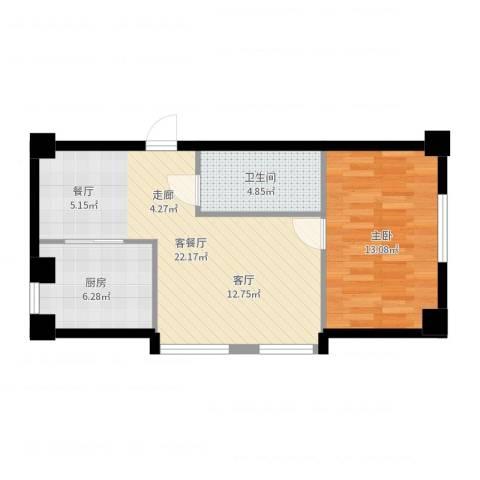天骄花园1室2厅1卫1厨58.00㎡户型图