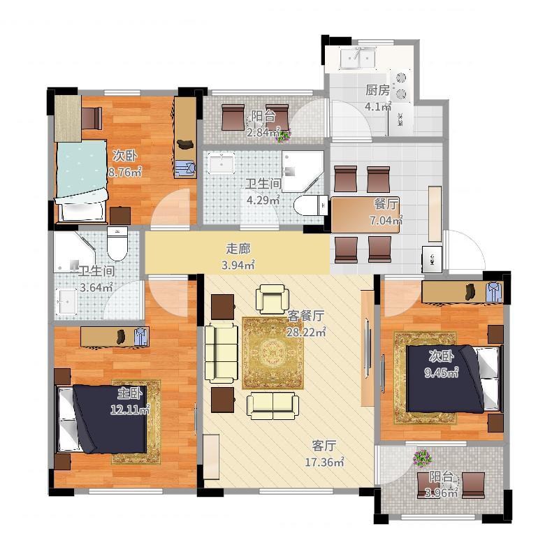 澳海梦想城多层户型3室1厅2卫1厨-副本户型图
