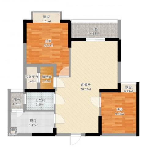 听涛观海龙台2室2厅1卫1厨83.00㎡户型图