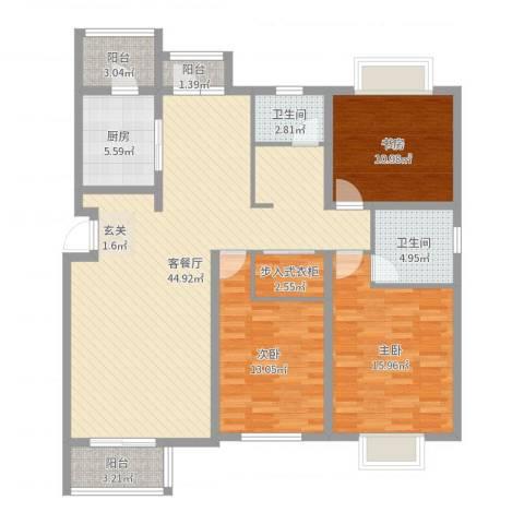 博信双E港3室2厅2卫1厨136.00㎡户型图