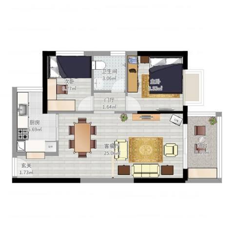 港湾江城2室2厅1卫1厨70.00㎡户型图