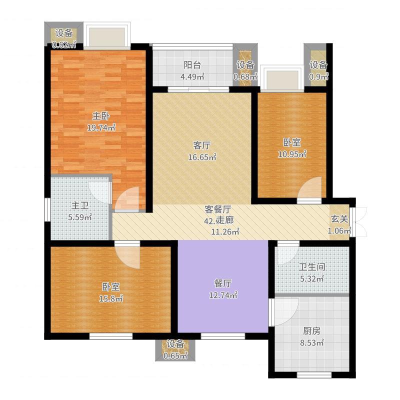赵都新城131.71㎡天和园精装房户型3室2厅2卫户型图