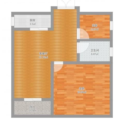 金港湾2室2厅1卫1厨82.00㎡户型图