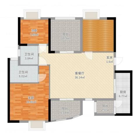 碧桂园凤凰城凤锦苑2室2厅2卫1厨139.00㎡户型图