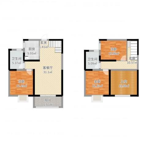 启迪方洲3室2厅2卫1厨142.00㎡户型图