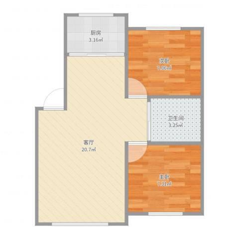 富奥花园D区2室1厅1卫1厨52.00㎡户型图