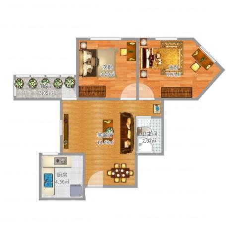 太平桥西里2室2厅1卫1厨53.00㎡户型图