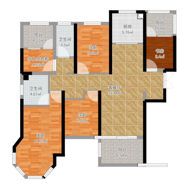 中南世纪城-5室2厅2卫1橱-143m2户型图