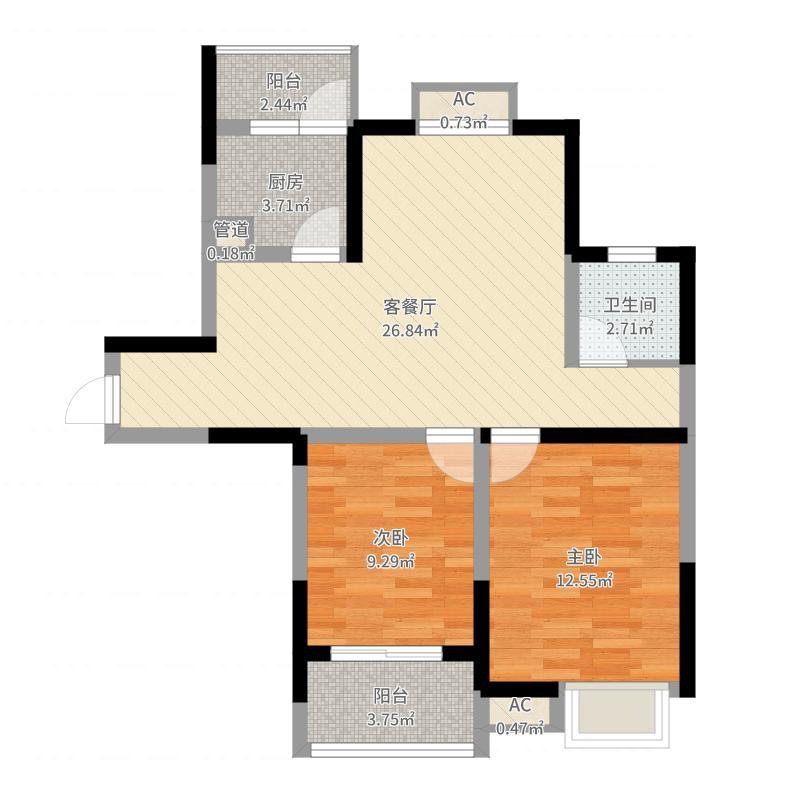 武夷绿洲H户型2室2厅1卫1厨-副本户型图