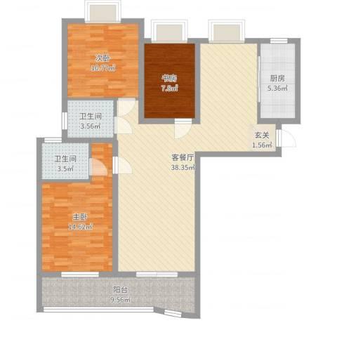 中央花城3室2厅2卫1厨117.00㎡户型图