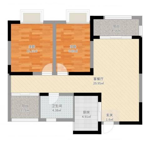 利港银河广场2室2厅1卫1厨87.00㎡户型图