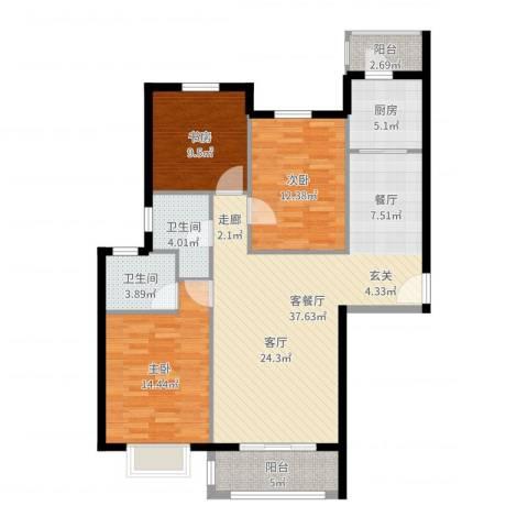 凤凰新城3室2厅2卫1厨118.00㎡户型图