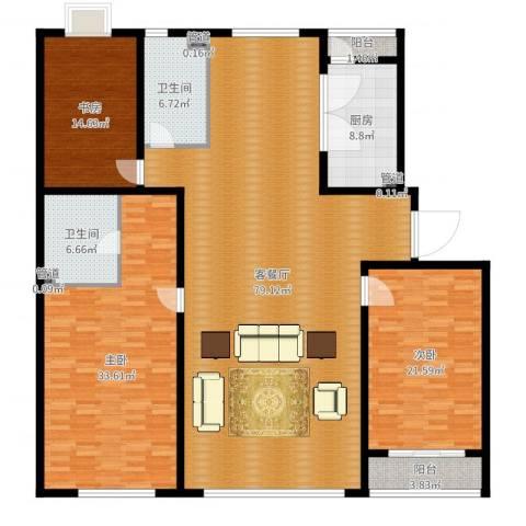天誉国宝3室2厅2卫1厨221.00㎡户型图