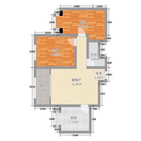滨河城市经典2室2厅1卫1厨94.00㎡户型图