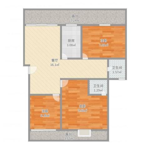 书香佳缘3室1厅2卫1厨69.00㎡户型图