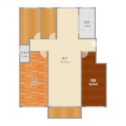 炬山花苑2室1厅1卫1厨158.00㎡户型图