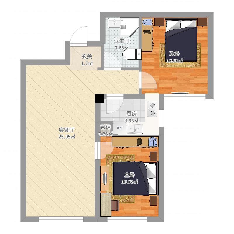 永信蓝湾国际77.77㎡5#楼D户型2室2厅1卫1厨-副本户型图