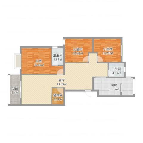 顶间花园3室1厅2卫1厨144.00㎡户型图