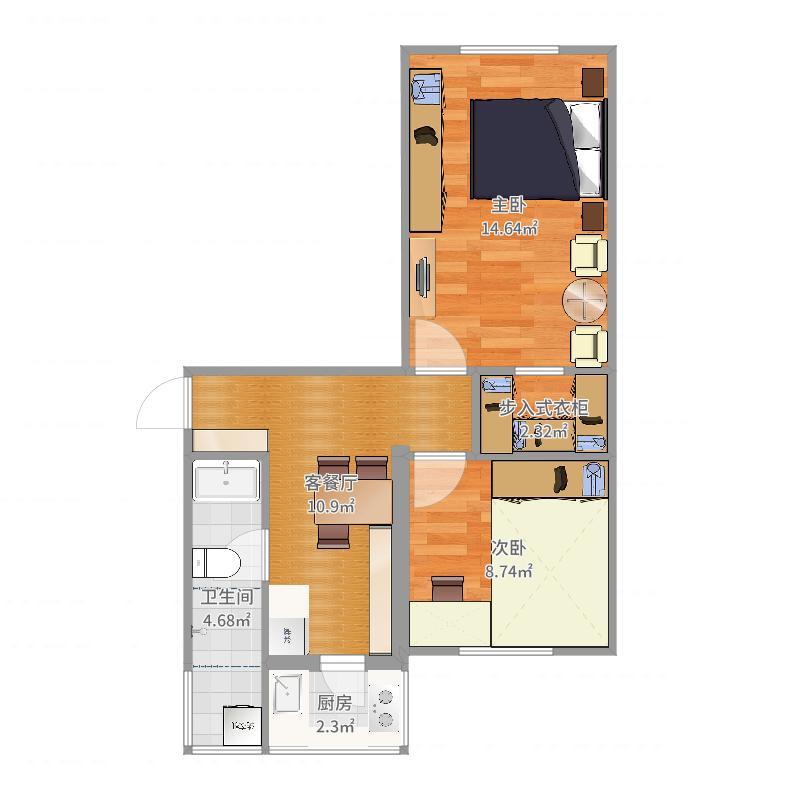 河东区程林丽两室一厅一厨一卫-YSK027户型图