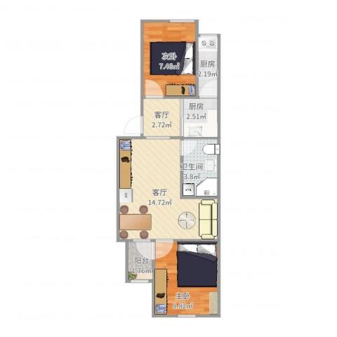 玉桥南里2室2厅1卫2厨55.00㎡户型图