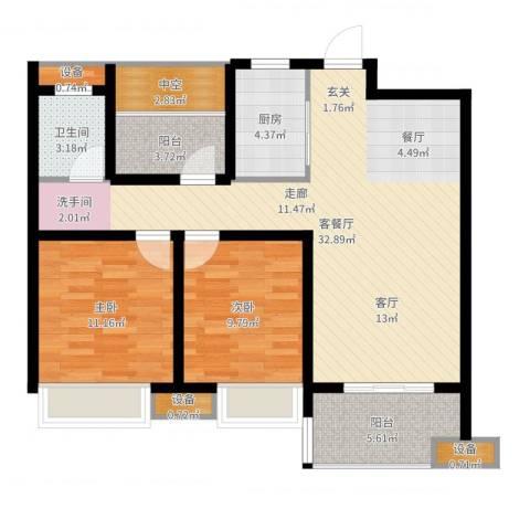 文一名门首府2室2厅1卫1厨95.00㎡户型图