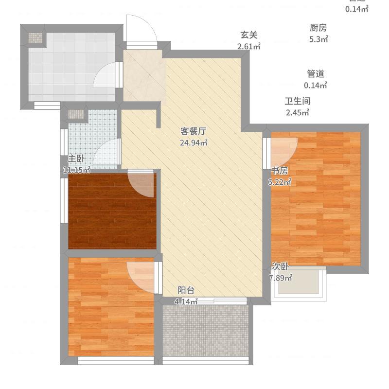银城蓝溪郡78.00㎡一期1-4#标准层A1户型3室3厅1卫1厨-副本户型图