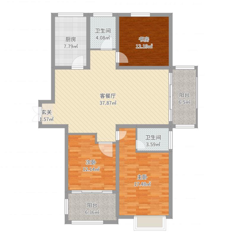 同科・汇丰国际135.00㎡G户型3室3厅2卫1厨户型图