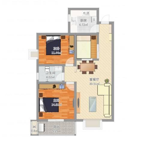 城西印象2室2厅1卫1厨98.00㎡户型图