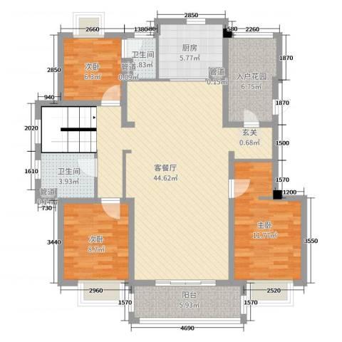 月亮湾3号三期3室2厅2卫1厨240.00㎡户型图