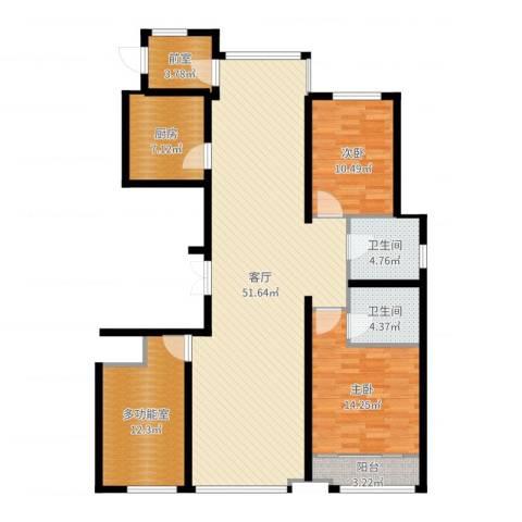 海鑫花园2室1厅2卫1厨140.00㎡户型图