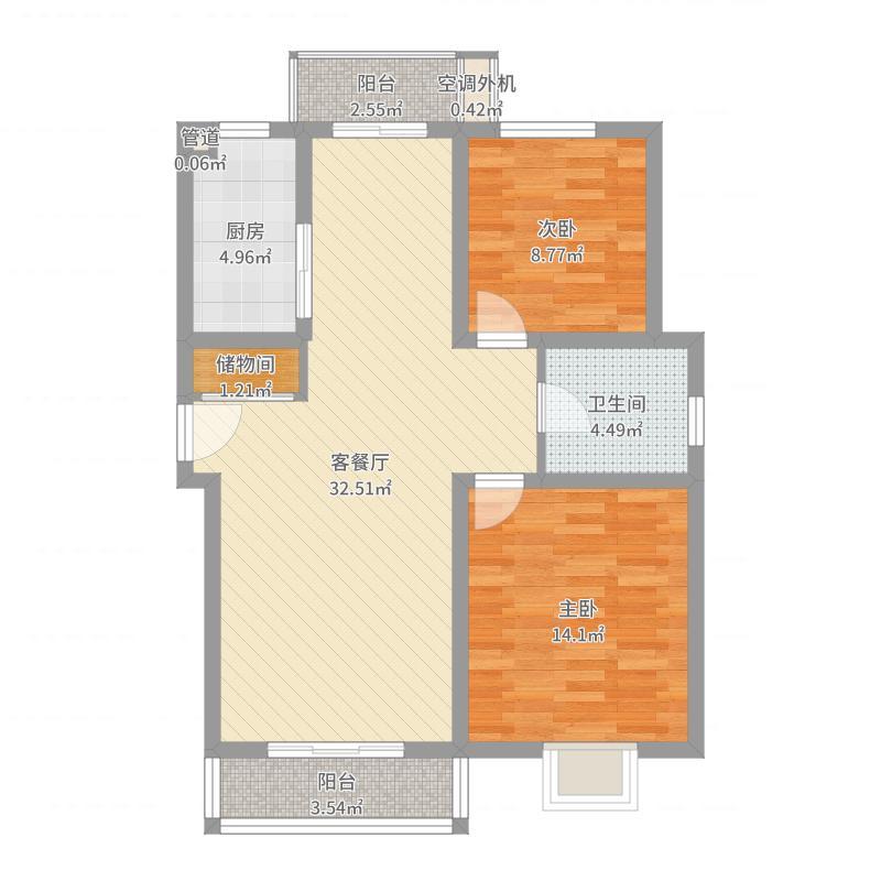 旺旺家缘105.38㎡旺旺家缘户型图D-2A2室2厅1卫1厨户型2室2厅1卫1厨户型图