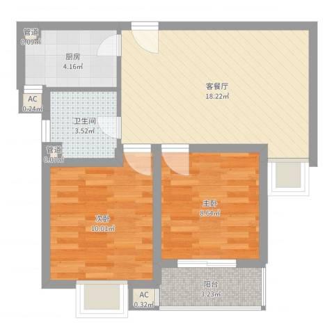 绿地启航社(河西)2室2厅1卫1厨61.00㎡户型图