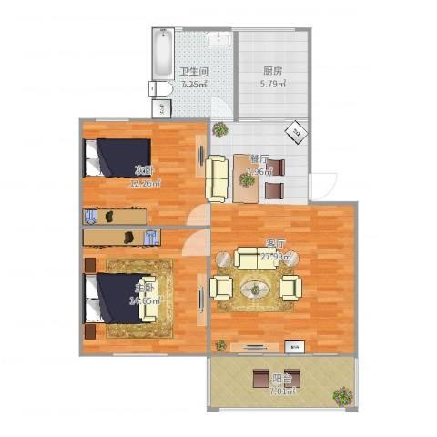 昌南花园2室1厅1卫1厨93.00㎡户型图