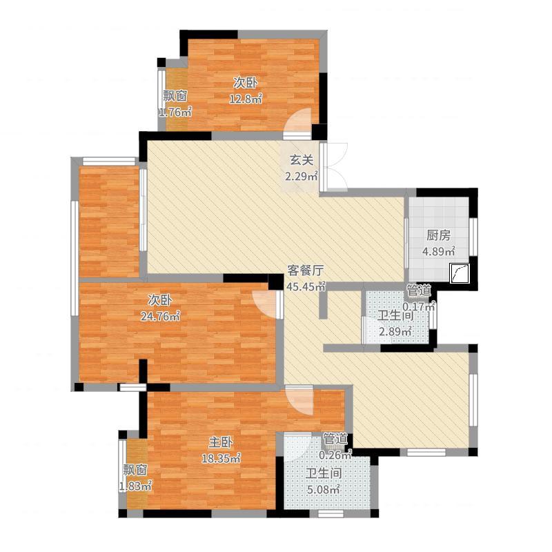 锦悦湾雅园142.00㎡高层1-6#标准层C户型4室4厅2卫1厨-副本户型图