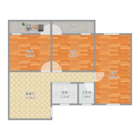 金道花园3室2厅1卫1厨78.00㎡户型图