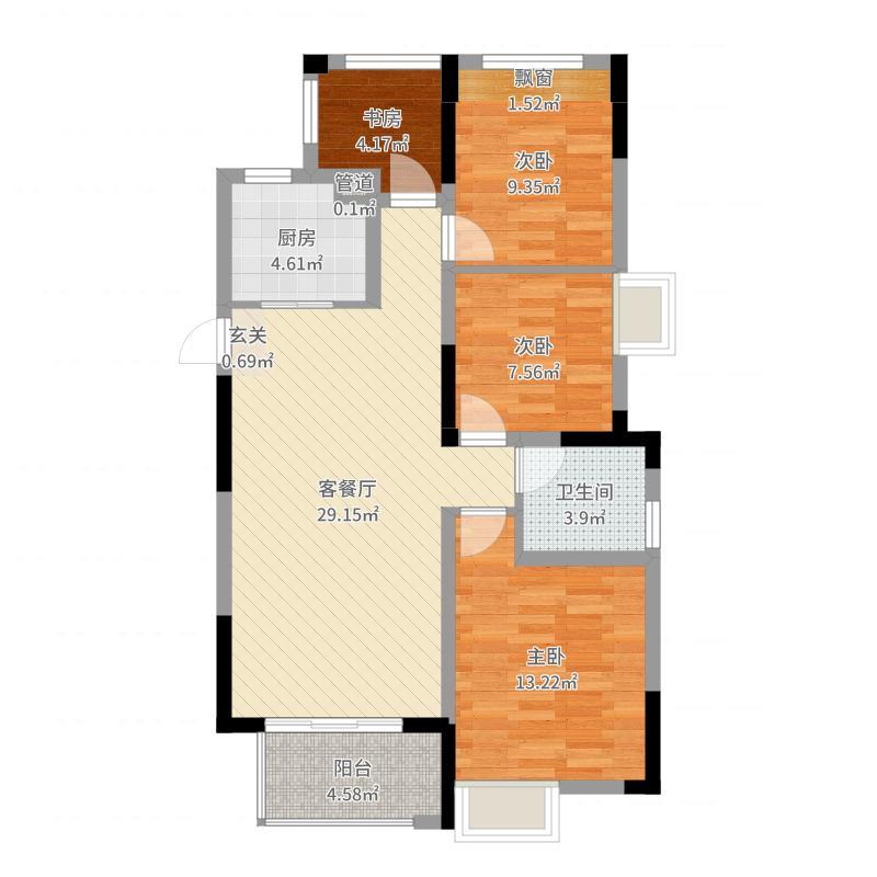 时代广场二期110.00㎡A户型4室2厅1卫1厨户型图