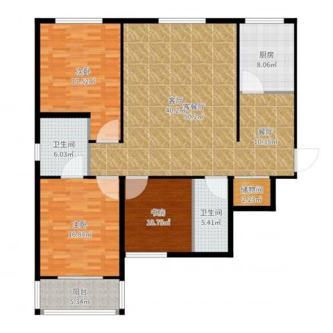 帝豪天成3室2厅2卫1厨153.00㎡户型图