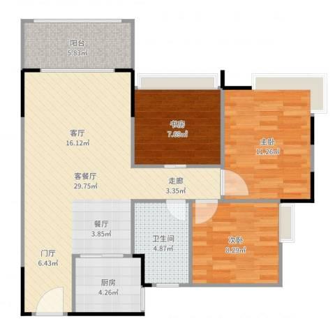 锦绣名庭3室2厅1卫1厨90.00㎡户型图