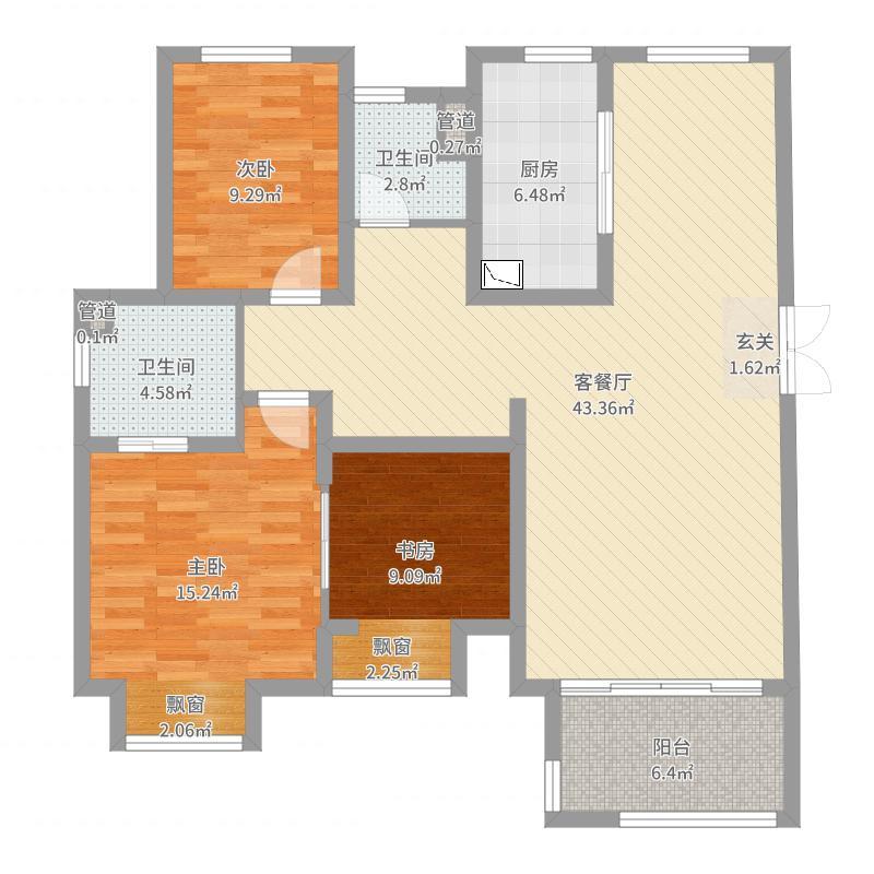 梅香雅舍122.00㎡D户型2室2厅2卫1厨户型图